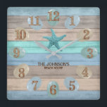 """Sea Glass and Beach Wood Nautical Square Wall Clock<br><div class=""""desc"""">Square Wall Clock. Add style to the home. Featuring a soft tan, blue and teal Beach Wood Stripes and nautical design with a starfish and sea glass. ⭐This Product is 100% Customizable. Graphics and / or text can be added, deleted, moved, resized, changed around, rotated, etc... 99% of my designs...</div>"""