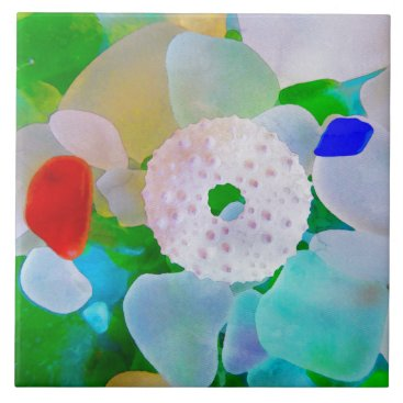 Beach Themed Sea Glass and Sea Urchin Shell Tile