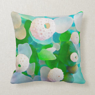 Sea Glass and Sea Urchin Shells watercolor Throw Pillow