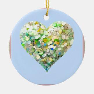 Sea Glass Aqua Heart Ceramic Ornament