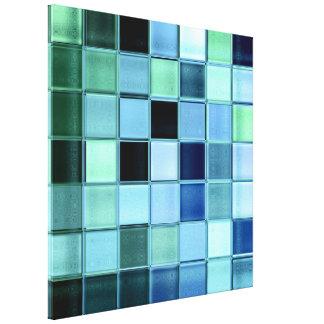 Sea Glass Aquamarine Mosaic Art Wrapped Canvas
