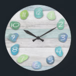 "Sea Glass Beach Driftwood Large Clock<br><div class=""desc"">A sea glass and driftwood beach look clock. The wood is weathered looking and looks very real. Beautiful,  peaceful,  natural and rustic looking.</div>"
