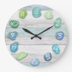 Sea Glass Beach Driftwood Large Clock at Zazzle