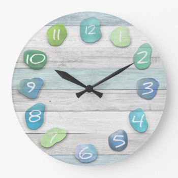 Sea Glass Beach Driftwood Large Clock by thetreeoflife at Zazzle