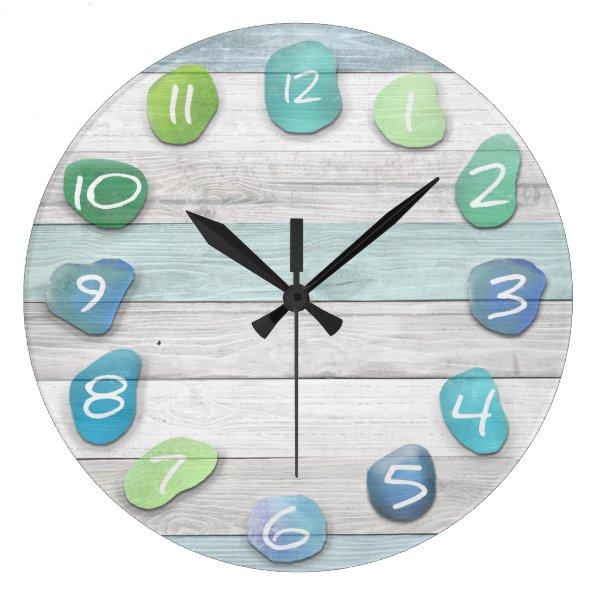 Sea Glass Beach Driftwood Large Clock