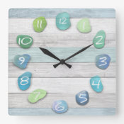 Sea Glass Beach Driftwood Ocean Square Wall Clock (<em>$31.65</em>)