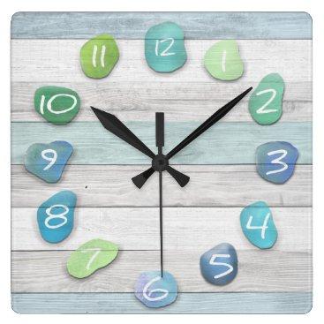 thetreeoflife Sea Glass Beach Driftwood Ocean Square Wall Clock