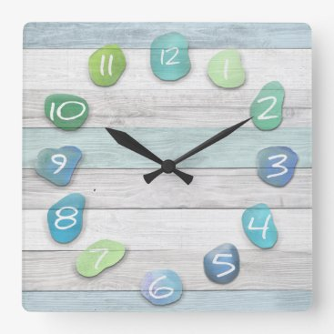 thetreeoflife Sea Glass Beach Driftwood Ocean Square Wall Clock