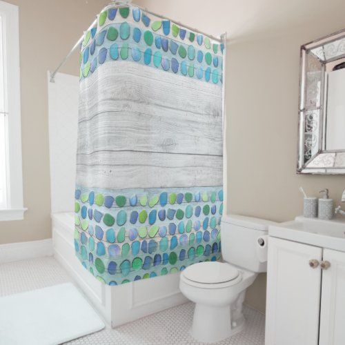 Sea Glass Beach Driftwood Shower Curtain