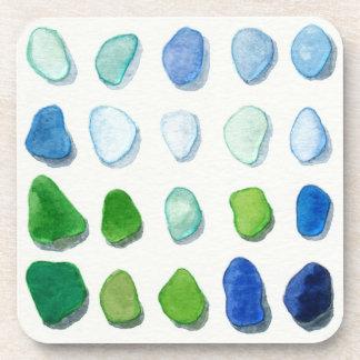 Sea glass, beach glass art coasters