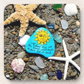Sea glass, beach glass art funny coasters