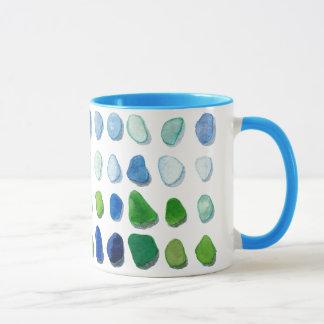 Sea glass, beach glass art mug