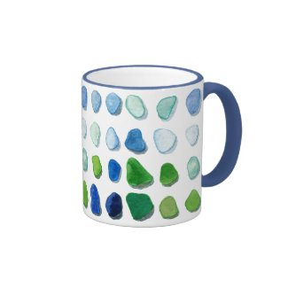 Sea glass, beach glass art mug