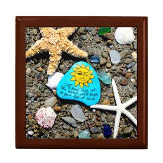 Sea glass, beach glass art painting keepsake box