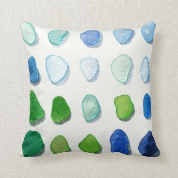 SunshineSeaglass Sea glass, beach glass art painting square pillow