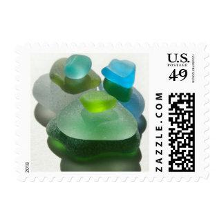 Sea glass, beach glass, blue green art photo postage