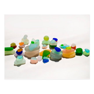 Sea glass, beach glass bright rainbow post card