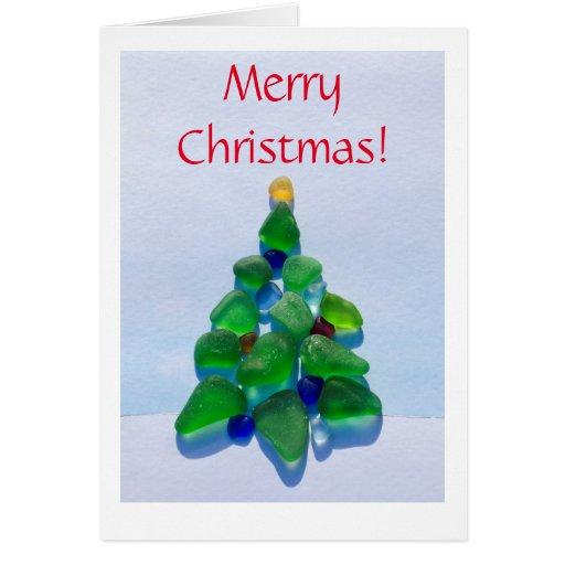 Sea glass beach christmas holiday card zazzle