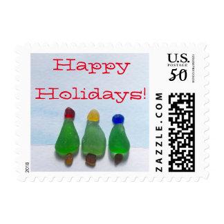 Sea glass, beach glass, Christmas Holiday Postage