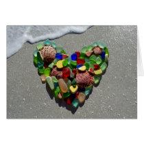 Sea glass, beach glass rainbow heart blank
