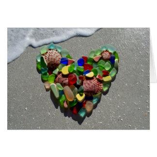 Sea glass, beach glass rainbow heart blank card