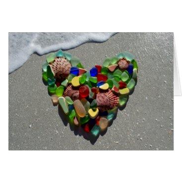 SunshineSeaglass Sea glass, beach glass rainbow heart blank card