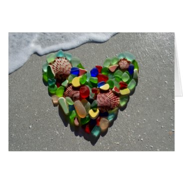 SunshineSeaglass Sea glass, beach glass rainbow heart blank card