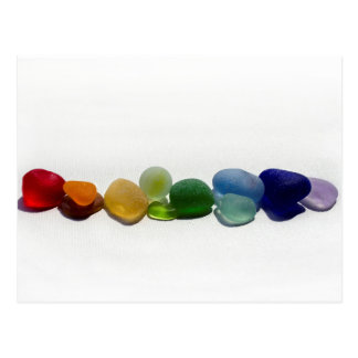 Sea glass, beach glass rainbow post card