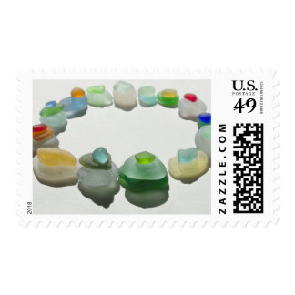 Sea glass, beach glass, rare colors art photo postage stamp