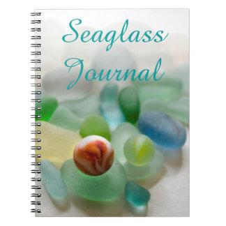 Sea glass, beach marble art photo Journal notebook