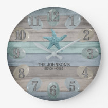 Sea Glass Beach  Nautical Driftwood Large Clock