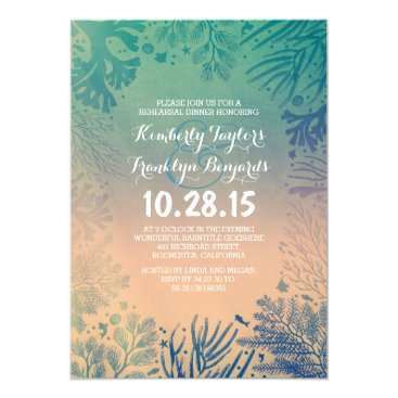 jinaiji Sea glass Beach Underwater Corals Rehearsal Dinner Card