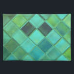 """Sea Glass Custom Art Woven Cotton Placemats<br><div class=""""desc"""">The placemats are warm and colorful and modern and unique. This American Mojo placemat has a design of water, glass, mosaic and tropical seas. Stunning design of blue, teal, aquamarine, green, and ocean colors! This makes a great gift and is MADE IN AMERICA! Simply click &quot;Customize It&quot; to rotate the...</div>"""