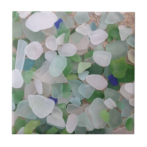 Sea glass from the ocean ceramic tile
