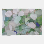 Sea glass from the ocean hand towels