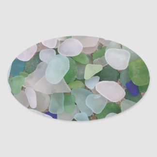 Sea glass from the ocean oval sticker