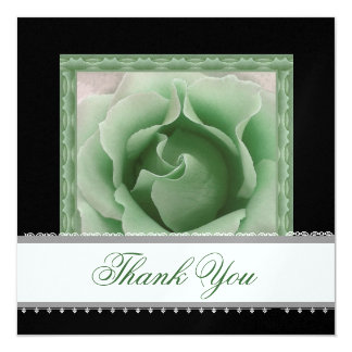 SEA GLASS GREEN Rose Lace Ribbon Wedding Thank You Card