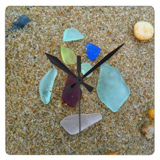 Sea Glass Group Square Wall Clock