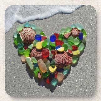 Sea glass heart, beach glass photo coasters