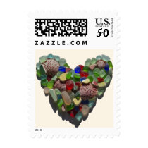Sea glass heart beach postage stamps
