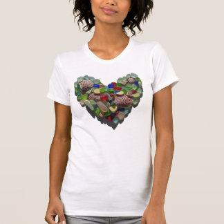 Sea glass heart, beach shells women's tee shirt