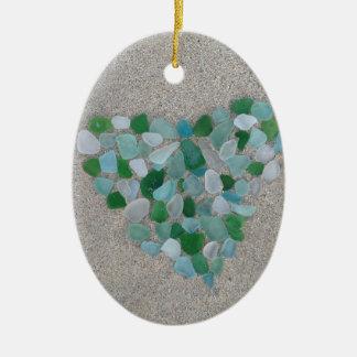Sea glass heart ceramic ornament