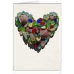Sea glass heart customizable card, Valentine's day