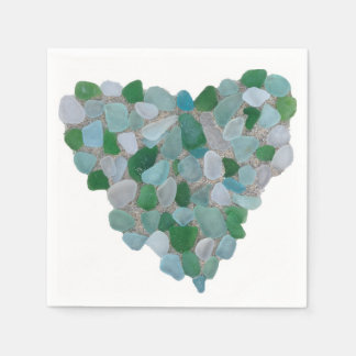 Sea glass heart paper napkin