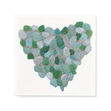 BrookmillHouse Sea glass heart paper napkin