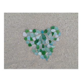 Sea glass heart postcard