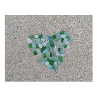 Sea glass heart postcard