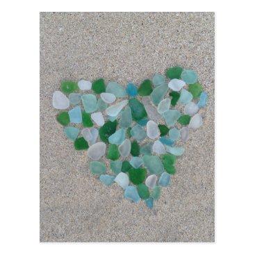BrookmillHouse Sea glass heart postcard
