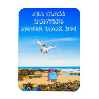 Sea Glass Hunters Never Look Up Rectangular Photo Magnet