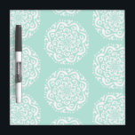 """Sea Glass Mandala Dry Erase Board<br><div class=""""desc"""">This white mandala sits on a light blue-green background. The colors are serene and creative. Part of the Kylgh Mandala Collection.</div>"""